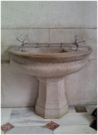 This lovely stone water fountain, located in Union Station, Washington, D.C., is inoperable.