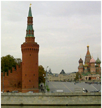 Moscow's Vodovzvodnaya Tower is on the southwest corner of the Kremlin by the Moskva River. Moscow's Kremlin and Red Square are a World Heritage Site.