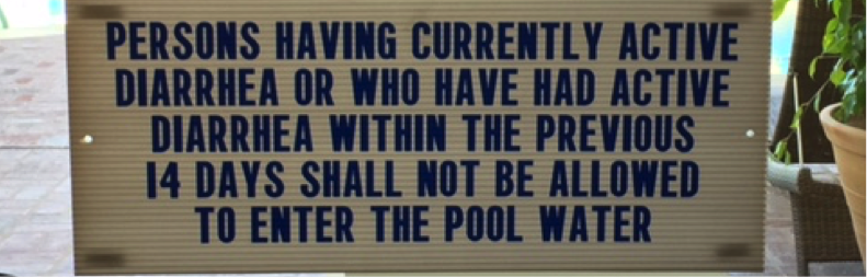 Sign on a door to a hotel pool in Santa Barbara, California, April 2017